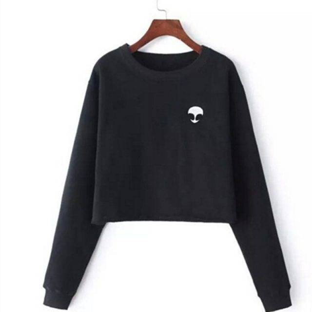 Women's Short Fleece Sweatshirt with Aliens Print Tops & Hoodies Color : Black|Silver