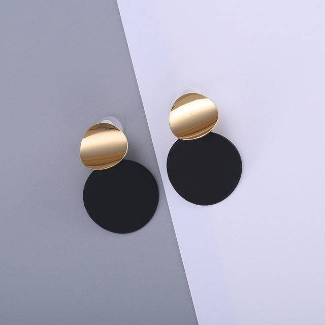 Trendy Eclipse Double Plate Earrings Earrings Jewelry