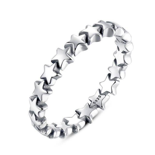 Women's Star Trail Shaped Silver Ring