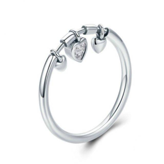 Crystal Heart Charms Silver Ring Jewelry Rings Ring Size : 6|7|8