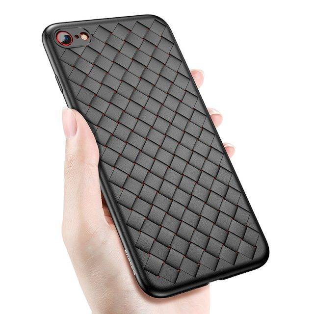Knitted Soft Silicone Case for iPhone Phone Cases Color : Black|Blue|Red