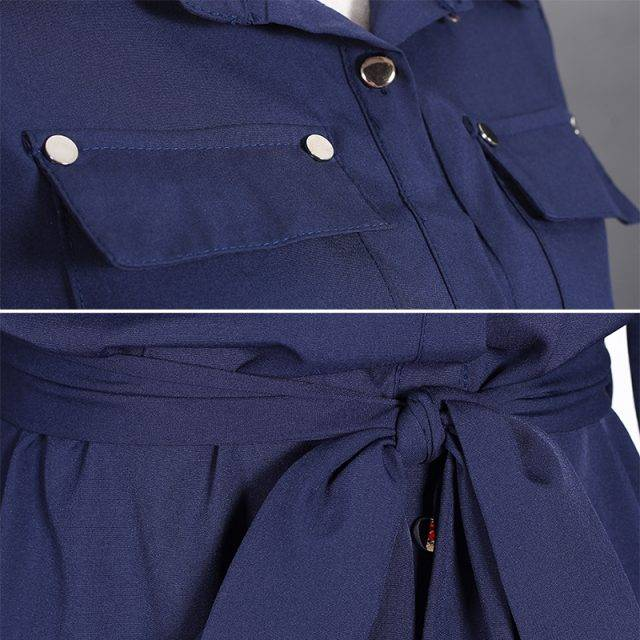 Women's Maxi Shirt Dress With Belt Dresses Color : Dark Blue|Light Blue|Army Green