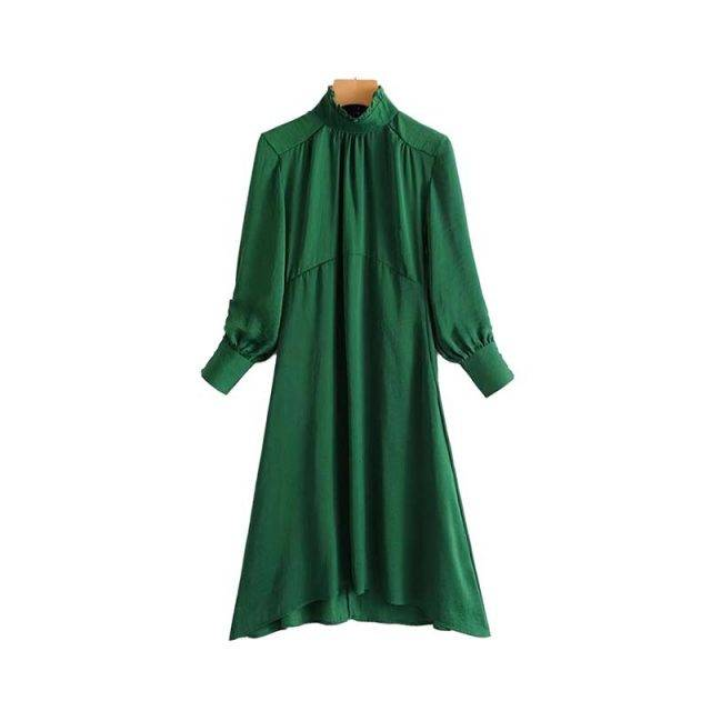 Women's Mid Flare Lantern Sleeved Dress Dresses Color : Green|Red