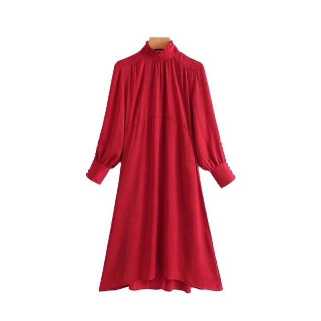 Women's Mid Flare Lantern Sleeved Dress