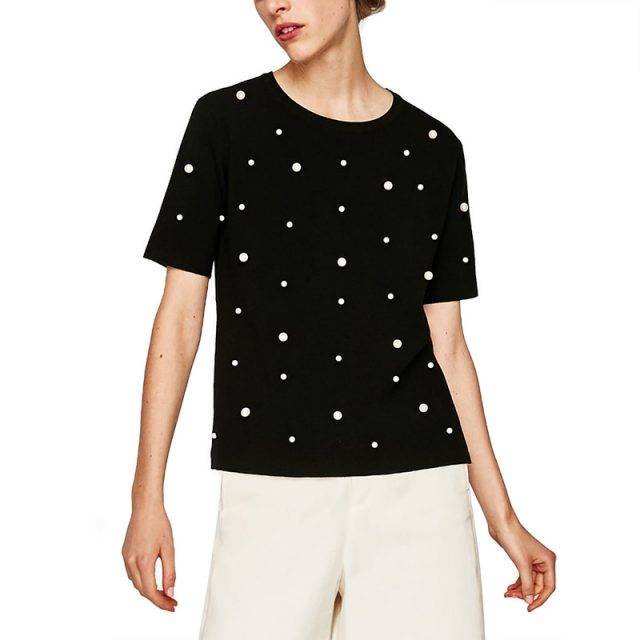 Women's Polka Dot Patterned T-Shirt Tops & Hoodies Color : Black|White