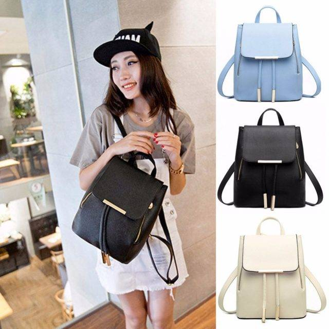 Japanese Styled Faux Leather Backpack for Women Bags & Backpacks Color : Black|Blue|Pink|Gray|Blue-5|Beige