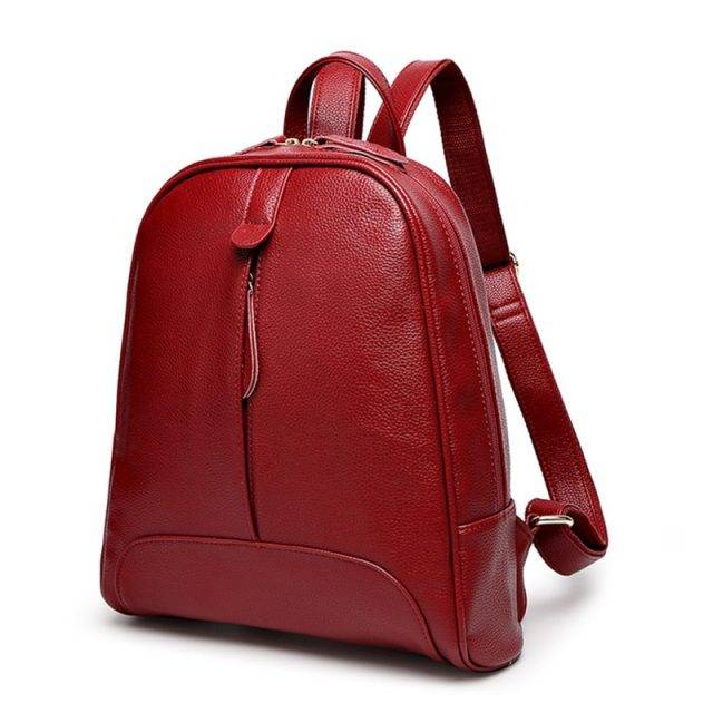 Fashion Zipper Closure Women's Genuine Leather Backpack
