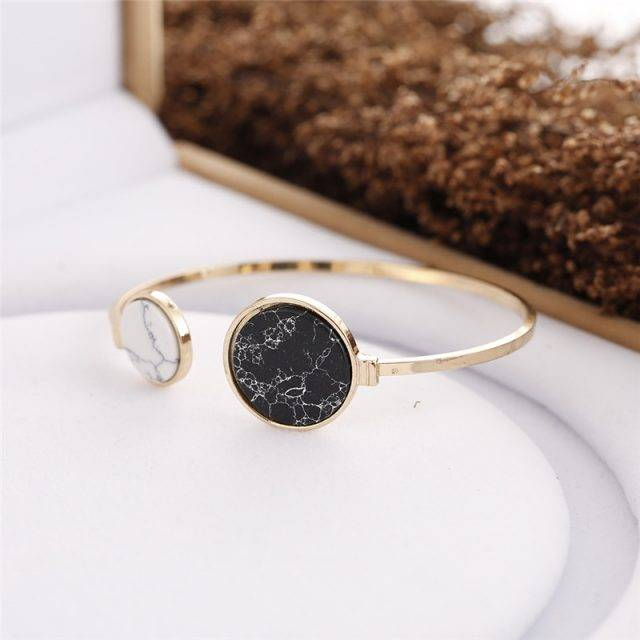 White and Black Marble Stone Bangle Bracelets Jewelry Color : 1|2|3|4