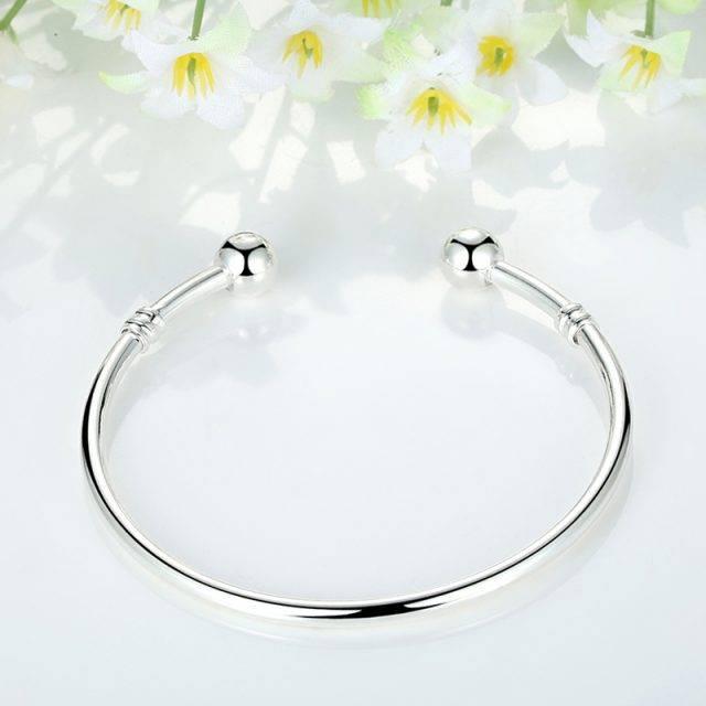 Minimalistic Silver Bangle Bracelet Bracelets Jewelry