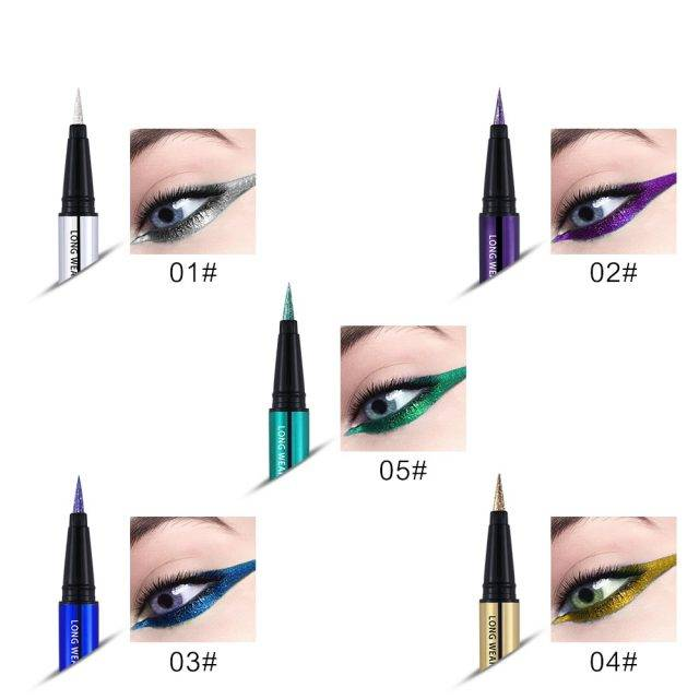 Metallic Liquid Eye Liner Eyes Makeup & Beauty Color : 01 Silver|02 Violet|03 Blue|04 Golden|05 Green
